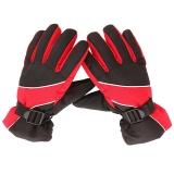 集暖手套电动车/摩托车防风防雨防滑滑雪太空棉秋冬手套 红色