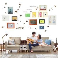 多美忆 照片墙带钟表相框墙13框创意组合相片墙简约客厅相框挂墙环保防潮 相守一生