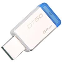 金士顿(Kingston)USB3.1 64GB 金属U盘 DT50 高速车载U盘 蓝色
