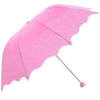 高密碰击布三折超轻晴雨伞,恬心公主33129E,红色