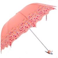 高密碰击布三折超轻晴雨伞,恬心公主33129E橘红色