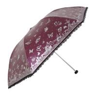 镜面彩胶三折超轻晴雨伞,蝶舞心动33187E枣红色