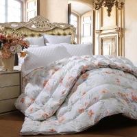 富安娜(FUANNA)家纺被子 印花羽绒被芯 欢乐颂白鸭绒冬厚被 1.5米床适用(203cm*229cm)