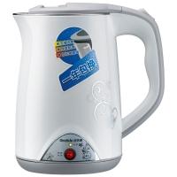 格来德(Grelide)电热水壶 304不锈钢烧水壶 PTC保温双层防烫 WWK-D1507B 1.5L容量电水壶(白色)