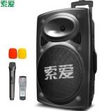 索爱(soaiy)音响 音箱 便携式移动拉杆户外音响 大功率蓝牙电瓶插卡广场舞音响 12英寸 黑色 SA-T19