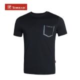 探路者(TOREAD)2017新款户外情侣男女T恤休闲透气圆领 TAJF81919 黑色XL