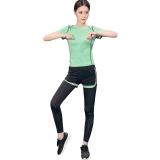 普为特POVIT 瑜伽服套装 假俩件运动裤配套头短袖上衣 专业运动健身跑步服两件套 速干衣 果绿色 L