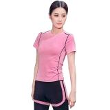 普为特POVIT 瑜伽服套装 假俩件运动裤配套头短袖上衣 专业运动健身跑步服两件套 速干衣 粉红色 XL