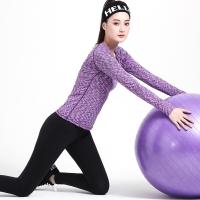 普为特POVIT 瑜伽服锦纶套装 修身显瘦套装跑步健身服两件套 段染紫+黑M -9093