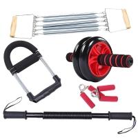 凯速健腹轮拉力器臂力器握力器腕力器健身组合套装六件套(30kg臂力器)