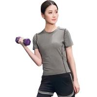 普为特 POVIT 瑜伽服套装 假俩件运动裤+套头短袖上衣 两件套专业运动健身跑步服 速干衣 灰色 XL