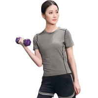 普为特POVIT 瑜伽服套装 假俩件运动裤配套头短袖上衣 专业运动健身跑步服两件套 速干衣 灰色 M