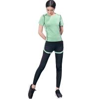 普为特POVIT 瑜伽服套装 假俩件运动裤配套头短袖上衣 专业运动健身跑步服两件套 速干衣 果绿色 S