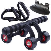 凯速KANSOON家用静音轴承四轮健腹轮健腹器腹肌轮(含地垫、刹车片)俯卧撑支架两件套黑色