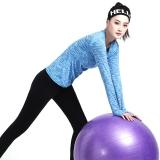 普为特POVIT 瑜伽服 袖口拇指孔设计锦纶速干紧身专业健身跑步服女二件套装 段染蓝+黑 L