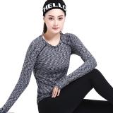 普为特POVIT 瑜伽服 袖口拇指孔设计锦纶速干紧身专业健身跑步服女二件套装 段染灰+黑色 L