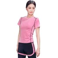 普为特POVIT 瑜伽服套装 假俩件运动裤配套头短袖上衣 专业运动健身跑步服两件套 速干衣 粉红色 L