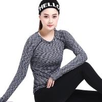 普为特POVIT 瑜伽服 袖口拇指孔设计锦纶速干紧身专业健身跑步服女二件套装 段染灰+黑色 M