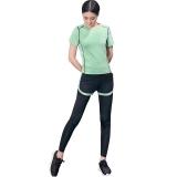 普为特POVIT 瑜伽服套装 假俩件运动裤配套头短袖上衣 专业运动健身跑步服两件套 速干衣 果绿色 XL