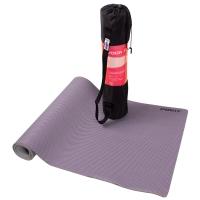 普为特POVIT 5mm天然橡胶瑜伽垫 网格布双面专业防滑健身运动垫子 173*61cm 紫色(含瑜伽包)P-9408