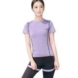 普为特 POVIT 瑜伽服套装 假俩件运动裤+套头短袖上衣 两件套专业运动健身跑步服 速干衣 紫色 M