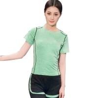 普为特POVIT 瑜伽服套装 假俩件运动裤配套头短袖上衣 专业运动健身跑步服两件套 速干衣 果绿色 M