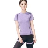 普为特 POVIT 瑜伽服套装 假俩件运动裤+套头短袖上衣 两件套专业运动健身跑步服 速干衣 紫色 S