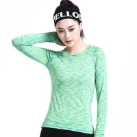 普为特POVIT 瑜伽服 袖口拇指孔设计锦纶速干紧身专业健身跑步服女二件套装段染绿+黑 XL
