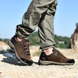 探路者TOREAD 户外情侣款男士防滑耐磨徒步鞋 TFAA91057 野牛棕/橙黄 43码