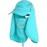 埃尔蒙特 钓鱼帽渔夫帽 可拆卸防晒帽防风沙防蚊虫遮脸帽登山帽 蓝色 630-930