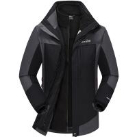 埃爾蒙特 ALPINT MOUNTAIN 沖鋒衣 男款三合一戶外服裝防風衣保暖衣防寒兩件套 640-624 黑色 M