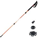 埃尔蒙特 户外登山杖徒步手杖拐杖轻伸缩三节 碳素碳纤维外锁加长手柄610-206 橙色