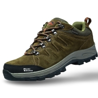 埃尔蒙特 户外男女登山鞋 徒步鞋 运动鞋 耐磨防滑户外鞋 真皮透气 工装鞋子 630-827 男款 卡其 40