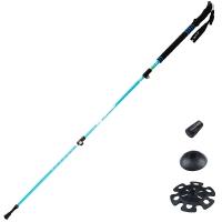 埃尔蒙特 户外登山杖徒步手杖拐杖轻伸缩三节 碳素碳纤维外锁加长手柄610-206 蓝色