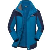 埃爾蒙特 ALPINT MOUNTAIN 沖鋒衣 男款三合一戶外服裝防風衣保暖衣防寒兩件套 640-624 寶藍 L