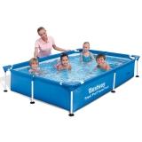 Bestway儿童游泳池成人家庭戏水池养鱼池221x150x43cm(无需充气的强韧三层夹网材质、金属支架结构)56401