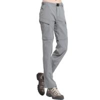 ALPINT MOUNTAIN 户外速干裤 两截可拆卸速干衣裤套装女款 快干登山长裤 620-202 女款浅灰L