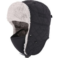 埃尔蒙特 雷锋帽保暖帽 加绒加厚护耳防风户外雪帽子带口罩 黑色 640-927