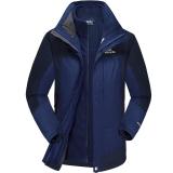 埃尔蒙特 ALPINT MOUNTAIN 冲锋衣 男款三合一户外服装防风衣保暖衣防寒两件套 640-624 藏青 XL