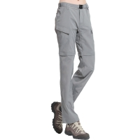 ALPINT MOUNTAIN 户外速干裤 两截可拆卸速干衣裤套装女款 快干登山长裤 620-202 女款浅灰XL