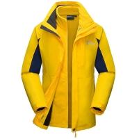 埃尔蒙特 ALPINT MOUNTAIN 冲锋衣 男女情侣款秋冬三合一冲锋衣抓绒保暖两件套 630-619 黄色 M