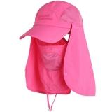 埃尔蒙特 钓鱼帽渔夫帽 可拆卸防晒帽防风沙防蚊虫遮脸帽登山帽 玫红 630-930
