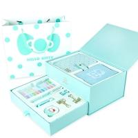 kinbor手帳本14件文具禮盒套裝(皮面手賬本子/鋼筆/和紙膠帶)凱蒂貓粉藍DTB6507