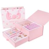 kinbor手帐14件文具礼盒套装(皮面手账本子/钢笔/和纸胶带)凯蒂猫粉红DTB6507