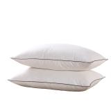 鸿雁 枕芯家纺 全棉白鸭绒枕 三层工艺枕头 酒店款 两只装 白色银粉48*74cm