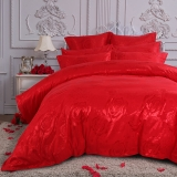 多喜爱(Dohia)床品套件 精致婚庆提花四件套 床单款 玫瑰情丝 双人 1.8米床 230*230cm