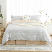 大朴(DAPU)套件家纺 A类床品 精梳纯棉四件套 缎纹印花床单被罩 浅灰条纹 1.8米床 220*240cm