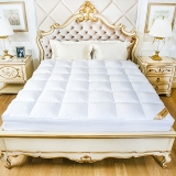鸿润 优雅宝贝 床垫家纺 全棉鹅毛片床垫床褥 榻榻米透气床褥子 酒店床护垫 白色 填充量4.9kg 适用1.5米床