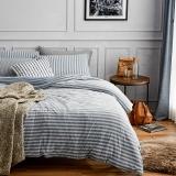大朴(DAPU)套件家纺 天然新疆针织棉条纹四件套 针织裸睡至爱 床笠式 灰蓝条纹 1.8米床 220*240cm