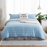 大朴(DAPU)套件家纺 A类床品 精梳纯棉四件套 缎纹印花床单被罩 蓝色条纹 1.8米床 220*240cm
